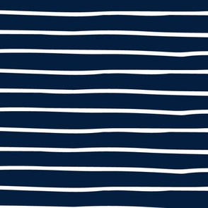 Navy Stripes - Hand Drawn Geometric Shapes Baby Nursery Kids Children GingerLous