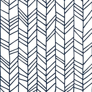 Navy + White Crazy Chevron Herringbone Hand Drawn Geometric Pattern GingerLous