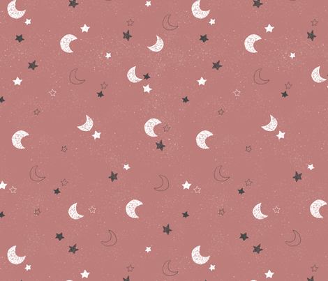 Moon and stars - blush fabric by bianca_pozzi on Spoonflower - custom fabric