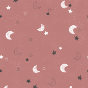 Moon and stars - blush