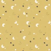 Moon and stars - mustard