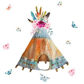 "8"" Quilting Block / Here She Sleeps Teepee"