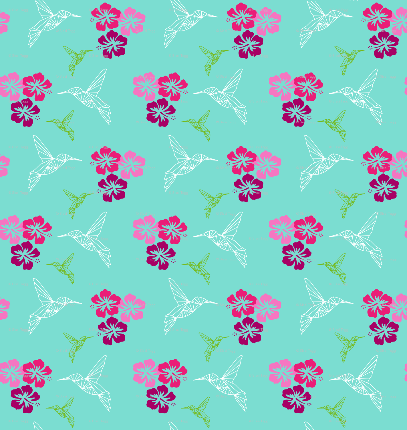 Colibri Hibiscus Antilles Wallpaper Sissi Tagg Spoonflower