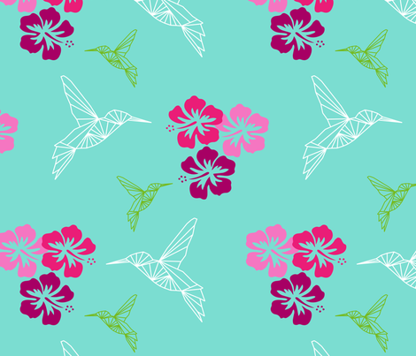 colibri hibiscus Antilles fabric by sissi-tagg on Spoonflower - custom fabric