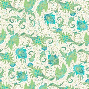 Green - turquoise-golden ndian floral garden