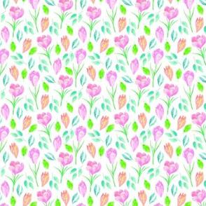 Spring Crocus - Floral Flowers Garden Blooms Baby Girl Nursery GingerLous B