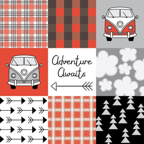 adventure awaits camper vans red and black