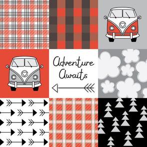 adventure awaits camper vans red and black
