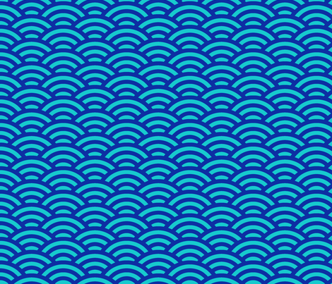 scallops in blue and aqua fabric by weavingmajor on Spoonflower - custom fabric