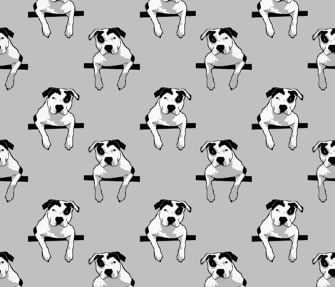 Pit Bull T-Bone Graphic Grey Smaller fabric by hisruinphotography on Spoonflower - custom fabric