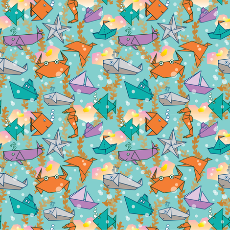 Origami-Ocean Life fabric by julistyle on Spoonflower - custom fabric