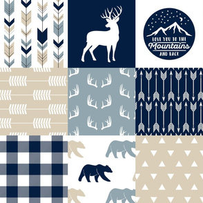 Love you to the mountains and back - bear and  buck - rustic woods patchwork
