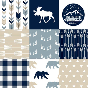 Love you to the mountains and back - bear and  moose - rustic woods patchwork