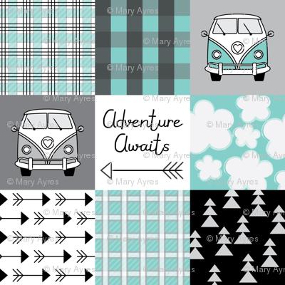 adventure awaits camper vans teal and black