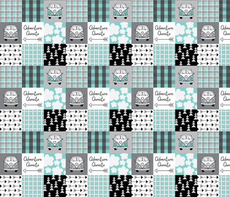 adventure awaits camper vans teal and black fabric by lilcubby on Spoonflower - custom fabric