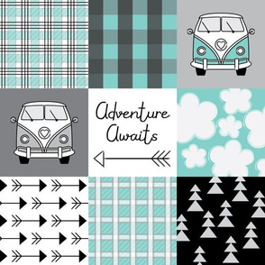 adventure awaits camper vans teal and black