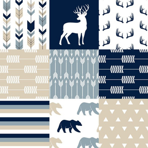 Rustic woods patchwork  - buck and bear woodland fabric