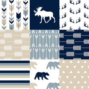 Rustic woods patchwork  - moose and bear woodland fabric