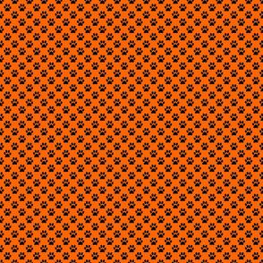 Orange with Black Paw Print