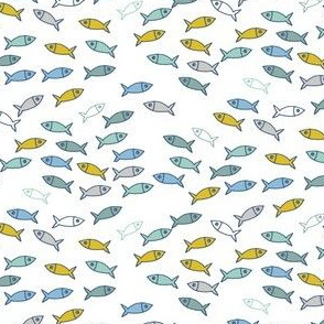 Arctic Fish - mustard yellow, mint green and baby blue on white