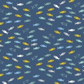 Arctic Fish - mustard yellow, mint green and baby blue on navy