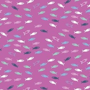 Arctic Fish - pink, white and navy on raspberry
