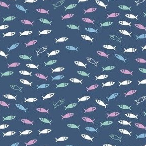 Arctic Fish - pink, mint and baby blue on french navy