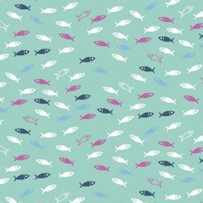 Arctic Fish - pink, white and navy on mint