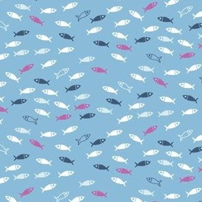 Arctic Fish - pink, white and navy on baby blue