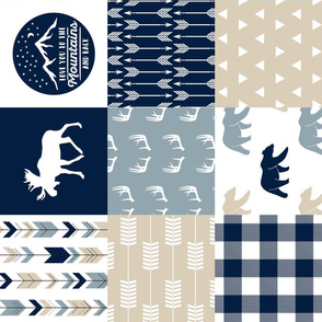 Love you to the mountains and back - bear and  moose - rustic woods patchwork  (90)
