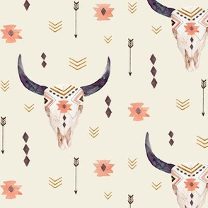 Aztec Skull (cream) – Bison Longhorn Bull Horns Southwest Nursery A