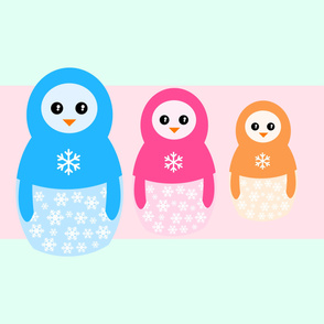 Winter matrioshka candy penguins