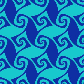 trellis in aqua and blue