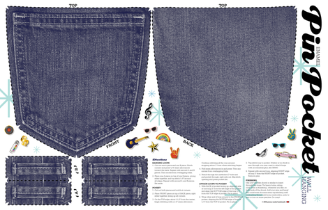Pin Pocket Cut-and-Sew Pattern (Blue Jeans) || enamel pins collection collector wall hanging display pinbacks pinback lapel denim fabric by pennycandy on Spoonflower - custom fabric