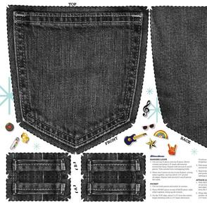 Pin Pocket Cut-and-Sew Pattern (Black Jeans) || enamel pins collection collector wall hanging display pinbacks pinback lapel denim