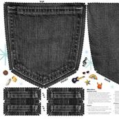 Pin Pocket Cut-and-Sew Pattern (Black Jeans)    enamel pins collection collector wall hanging display pinbacks pinback lapel denim
