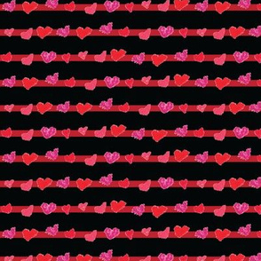 heart stripes black and red
