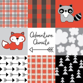 adventure awaits foxes and raccoons red and black
