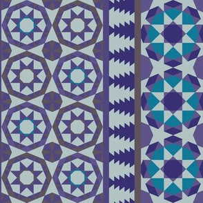 Alhambra Tessellations - Violet, grey, aqua and cream