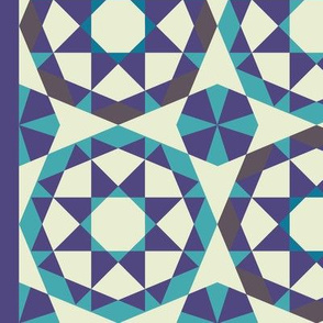 Islamic borders - Turquoise, blue and grey on white - Vertical, large scale