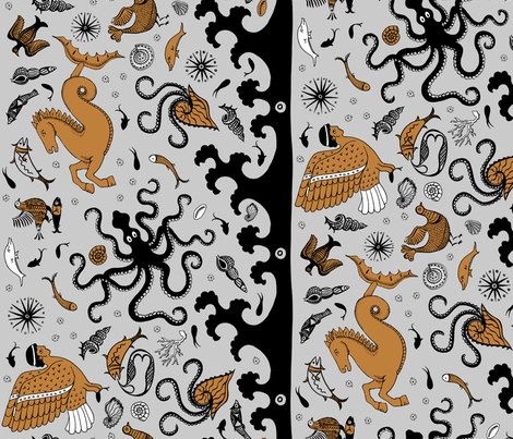 Minoan Sea and Sky Creatures - Vertical fabric by cecca on Spoonflower - custom fabric