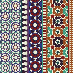 Alhambra Tessellations - Red, orange and blue on white - Vertical