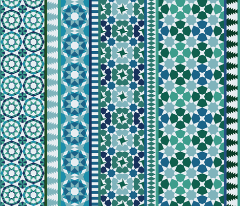 Alhambra Tessellations - Turquoise, blue and green on white - Vertical medium scale fabric by cecca on Spoonflower - custom fabric