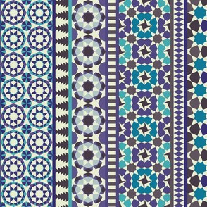 Alhambra Tessellations - Turquoise, Violet and grey on white - Vertical, small scale