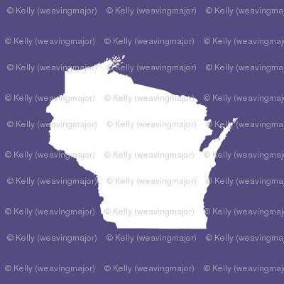 "Wisconsin silhouette - 6"" white on purple"