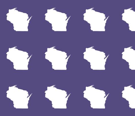 "Wisconsin silhouette - 6"" white on purple fabric by weavingmajor on Spoonflower - custom fabric"