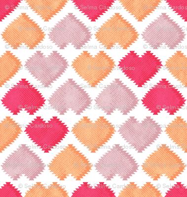 """Kilim"" my heart // red orange & pink hearts"