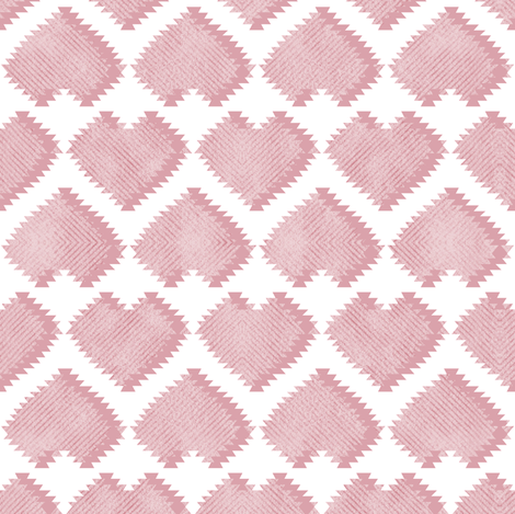 """Kilim"" my heart // pastel pink hearts fabric by selmacardoso on Spoonflower - custom fabric"