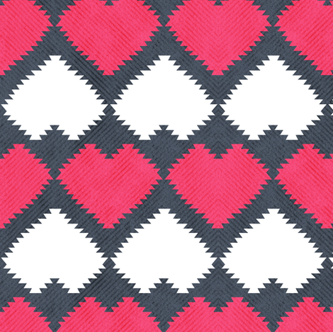 """Kilim"" my heart // red & white hearts fabric by selmacardoso on Spoonflower - custom fabric"