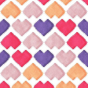 """Kilim"" my heart // ultra violet red & orange hearts"